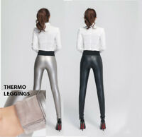 Leggings Thermo Stretch Hose Damen High Waist Jeggings Schwarz S M L 36 38 40 42