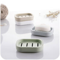 Double Layer Plastic Drain Soap Dish Storage Holder Shower Bathroom Dispenser