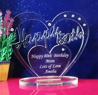 Personalised 80th Birthday  Heart Gift with message -  Free Standing Keepsake