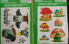 Meyercord Decalart lot of 2 vintage decal packages owls & mushrooms 1981
