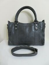 FRYE LEATHER MELISSA DISTRESSED CARBON GRAY SATCHEL BAG PURSE TOTE SATCHEL NEW