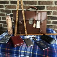 RARE VINTAGE 1920s COWHIDE & DEERSKIN LEATHER MACBOOK PRO BRIEFCASE BAG R$1498