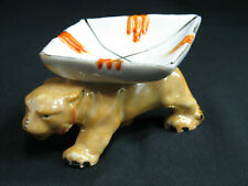 Antique Porcelain Baby Bird Ashtray Mouth Open Luster Snuffer Japan Lusterware Bug Eyes Purple Orange