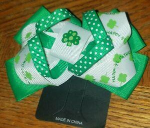 Hair Bow , St. Patricks Day hair Bow , Shamrock Hair Bow , Clover Bow