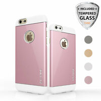For iPhone 6S 6 Plus Hybrid Metal Aluminum Phone Case+Tempered Glass Screen