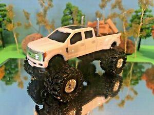 1/64 custom FORD F350 Lifted Truck Farm Toy Ertl DCP, G-6 lift Kit, Swamp Tires