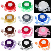 25Yard Multi-Color Roll Sheer Woven Edge Organza Chiffon Ribbon -3/4''/20mm