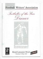 2000 FWA Footballer Of The Year Presentation Dinner Menu - Winner ROY KEANE