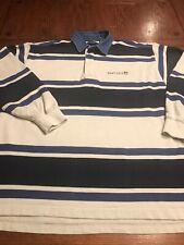 GANT USA Striped Long Sleeve Polo Rugby Shirt Denim Collar Sz XL (J2)