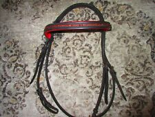 English Bridle, Black Leather Red Crystals