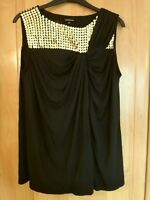 M & S Black Limited Collection Embellished Stretchy Blouse Size 16 BNWT, RRP £32