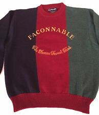 VTG RARE FACCONABLE 100% WOOL EMBROIDERED SWEATER DESIGNED IN FRANCE size M