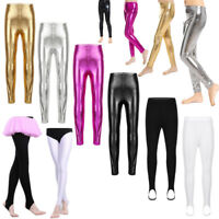 Girl Metallic Pants Kid Stirrup Ballet Dance Gymnastics Shiny Leggings Dancewear