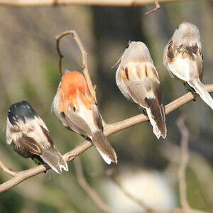 1Pc Gray fake birds artificial foam feathers sparrow home party wedding decor*I4
