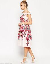 Cotton Blend Calf Length Cocktail Floral Dresses for Women