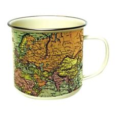 Gift Republic Vintage  World Map Tin Enamel Retro Mug Cream Cup Gift Idea