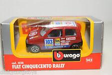 BBURAGO BURAGO 4138 FIAT CINQUECENTO RALLY RED MINT BOXED.
