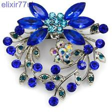 "2.4"" SILVER FLOWER BOUQUET BROOCH ROYAL BLUE  DIAMANTE CRYSTAL WEDDING BROACH UK"