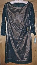 NWT TAHARI - STUNNING!! BLACK/GOLD SEQUIN DRESS - PETITE 6P