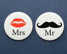 "Mr. and Mrs. Lips and Mustache Buttons Pinbacks Badges 1.5"" Wedding - Set of 2"