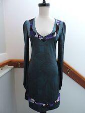 CUSTO BARCELONA PEACOCK GEOMETRIC GARDEN RETRO SLINKY DRESS 2 (XS)