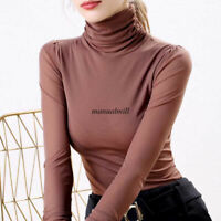 Thermal Winter Women Turtleneck Long Sleeve Basic Shirt Casual Office Top Blouse