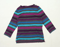Maine Womens Size 14 Striped Cotton Multi-Coloured Long Sleeve T-Shirt (Regular)