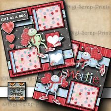 LUV BUG ~ family valentines day LOVE 2 premade scrapbook pages paper ~ DIGISCRAP