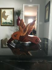 """Beautiful Hand Carved Wooden Flying Bird Great Detail with Secret storage 5"""""""