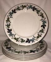 """6 Royal Doulton BURGUNDY LEAVES 10 3/4"""" DINNER PLATES"""