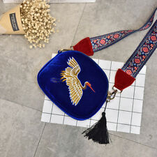 Velvet Embroidery Strap Shoulder Bag DESIGNER Tassel Vintage Crossbody Bags Sea Blue