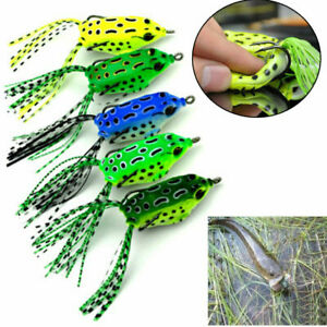 1/5x Large Frog Topwater Soft Fishing Lures Crankbait Hooks Bass Bait Tackle