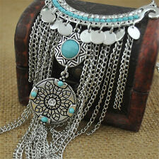 Retro Bohemian Gypsy Style Turquoise Tassel  Chain Choker Pendant Necklace PR