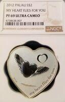 2012 PALAU SILVER $2 MY HEART FLIES FOR YOU NGC PF 69 ULTRA CAMEO BEAUTIFUL COIN