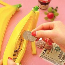 Novelty Silicone Portable Banana Coin Pencil Case Purse Bag Wallet Pouch XP