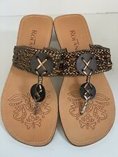 ROLAND Sz 40 / 9.5 Brown Bronze Metallic Woven Leather RESORT Sandals Thongs NEW