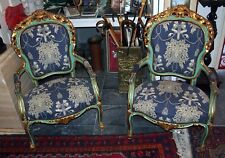"""PAIR OF ITALIAN OLD ARM CHAIRS GILT & GORGEOUS UPHOLSTERY FINE DETAILS H=43"""""""