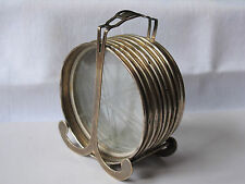 (8) Vintage STERLING Silver Coasters & Glass w/ STERLING Holder -Fisher Sterling