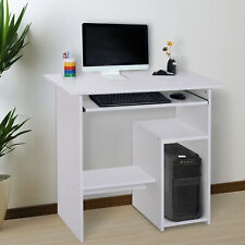 More details for homcom compact small computer table wooden desk keyboard tray storage white