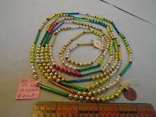 "Christmas Garland Mercury Mixed 111"" Long, 1/4"" & 1.5"" Long Beads, Eb31, Vintage"