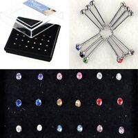 24X Wholesale Lot Rhinestone Nose Ring Bone Stud Body Piercing Fashion Jewelry