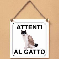 Snowshoe 3 Attenti al gatto Targa gatto cartello ceramic tiles