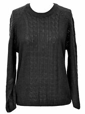BLACK LONG SLEEVE PULLOVER CABLE KNIT SWEATER SIZE SMALL