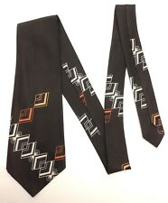 Vintage Swing Necktie Wide Neck Tie Abstract Diamond Geometric Dark Brown Retro