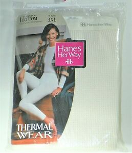 Hanes Her Way Thermal Wear Bottoms Ivory Womens Sz 3XL Brand New Vintage 1996