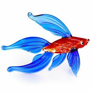 "Glass Fish Figurine / Handmade Hand Blown Art Glass Sea Animal 5"""