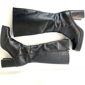 VTG 90s Tommy Hilfiger Womens 9.5 Black Chunky Platform Block Heel Boots Y2K