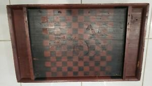 Antique Primitive  Hand Painted All Hard Wood Checkerboard w/deep moats on Riser