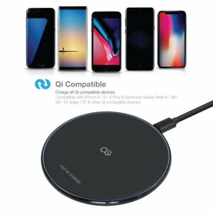 Omnigates Fast Wireless Charging Pad For iPhone X, Galaxy S9/S8/S7 / Note 9/8