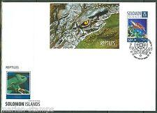 SOLOMON ISLANDS  2014  REPTILES TURTLE CROCODILE SOUVENIR SHEET  FIRST DAY COVER